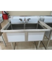 Sink, Two Compartments, Stainless Steel