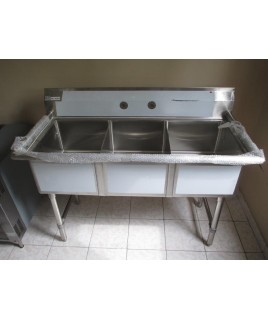 Sink, Three Compartments, Stainless Steel