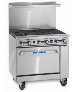 Restaurant Range, Gas, (6) lift off top burners with oven (Imperial)