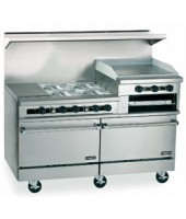 "Restaurant Range, Gas, (4) lift off top burners, 24"" griddle with (2) space saver ovens and 60"" broiler"
