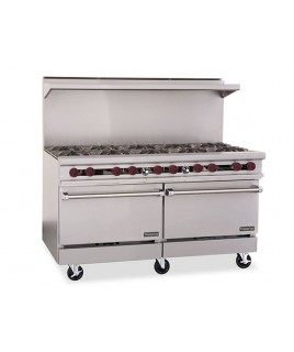 Restaurant Range, Gas, (10) lift off top burners with (2) space saver ovens Therma-Tek.