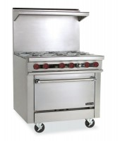 Restaurant Range, Gas, (6) lift off top burners with oven Therma-Tek.