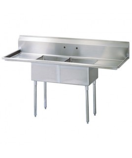 2 Compartments Sink with 2 Drainboards