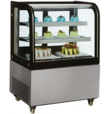 "Countertop Curved Crystal Refrigerated Showcase for repostery and salads (47.8"")"