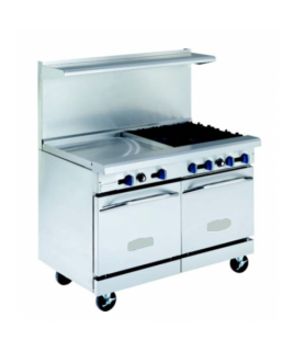 "Restaurant Range, Gas, (4) lift off top burners, 24"" griddle with (2) space saver ovens"